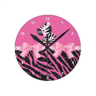 Zebra, Glitter & Bows Pink & Black Animal Print Round Wall Clocks
