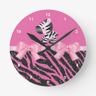 Zebra, Glitter & Bows Pink & Black Animal Print Round Clock