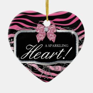 Zebra Glitter Heart Diamond Bow Cute Ceramic Ornament