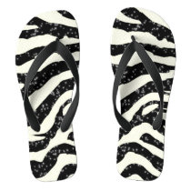 Zebra Glitter Stripes Animal Print Flip Flops