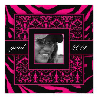 Zebra Grad Damask Party Invite Hot Pink Black