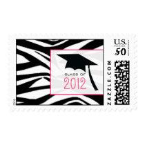 Zebra & Graduation Cap Class of 2012 Postage