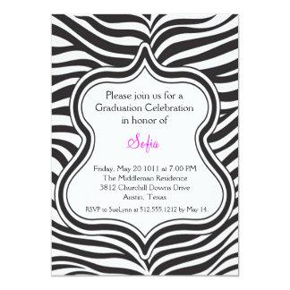 Zebra Graduation Invitation Custom Color