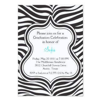 Zebra Graduation Invitation Custom Color  Aqua