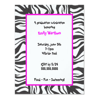 "Zebra Graduation Invitation HOT PINK trim 4.25"" X 5.5"" Invitation Card"