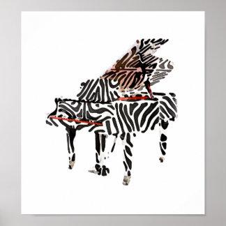 """Zebra Grand Piano ~ Poster 12.19""""x11"""""""
