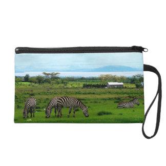Zebra Grazing Clutch Wristlet Purse