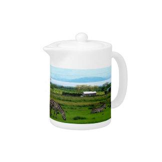 Zebra Grazing Tea Pot