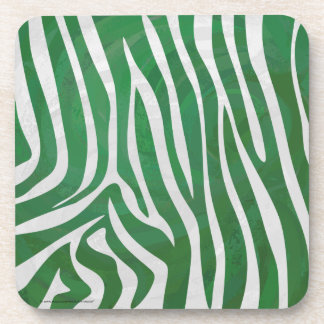 Zebra Green and White Print Drink Coaster
