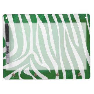 Zebra Green and White Print Dry Erase Whiteboards