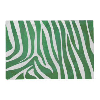 Zebra Green and White Print Laminated Placemat