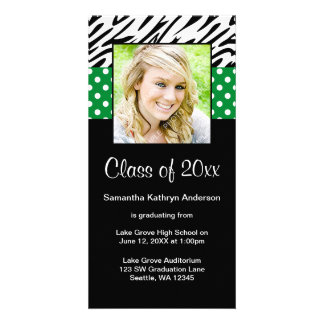 Zebra Green Polka Dot Graduation Announcement