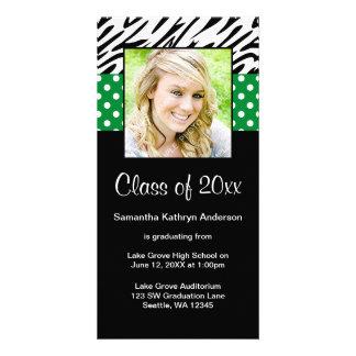 Zebra Green Polka Dot Graduation Announcement Photo Card