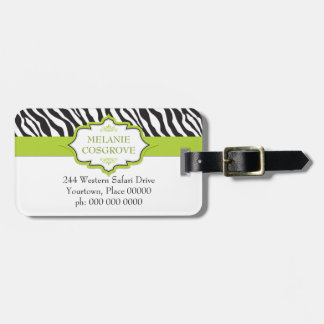 Zebra Green Ribbon Bag Tag