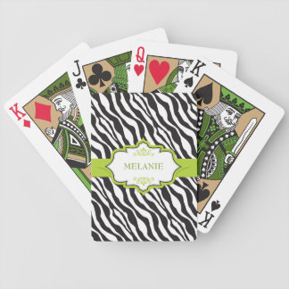 Zebra Green Ribbon Bicycle Playing Cards