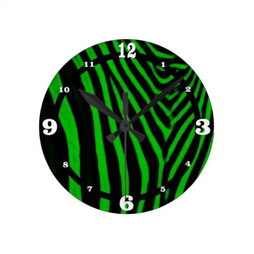 Zebra- Green Round Clock  Zazzle