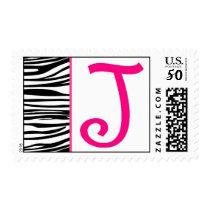 Zebra Greetings Monogram Leter J Curly Print Postage