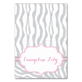 Zebra Grey and Pink Tent Table Card