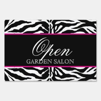 Zebra Hair Salon Lawn Sign Modern Black White Pink