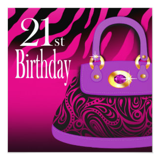 Zebra Handbag Paisley Purse 21st Birthday Card
