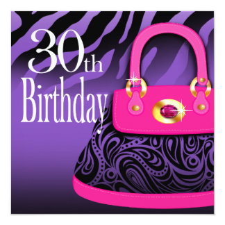 Zebra Handbag Paisley Purse 30th Birthday Card
