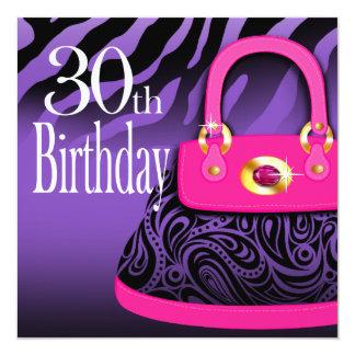 Zebra Handbag Paisley Purse 30th Birthday Card