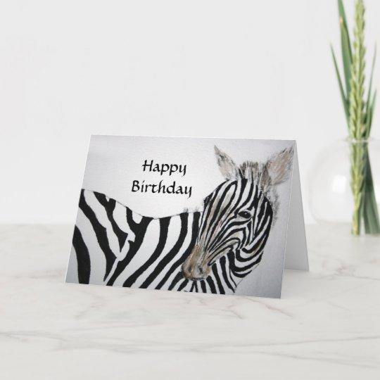 zebra happy birthday card  zazzle