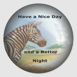 Zebra having & nice day and a better night. classic round sticker