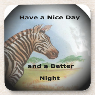 Zebra having & nice day and a better night. drink coaster