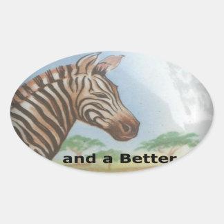 Zebra having & nice day and a better night. oval sticker