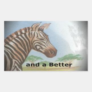 Zebra having & nice day and a better night. rectangular sticker