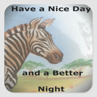 Zebra having & nice day and a better night. square sticker