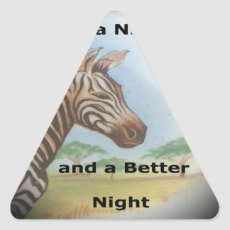 Zebra having & nice day and a better night. triangle sticker