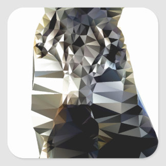 Zebra Head African Animal Low Poly Square Sticker