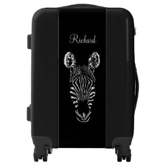 Zebra Head Black Custom Luggage