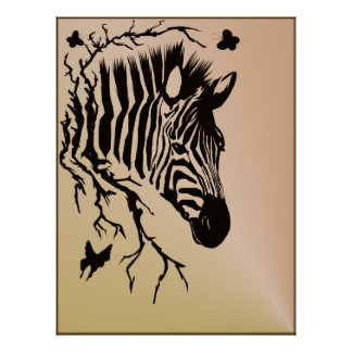 Zebra Head Design Poster