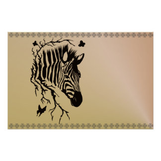 Zebra Head Design Poster