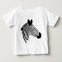 Zebra head illustration black white kids t-shirt