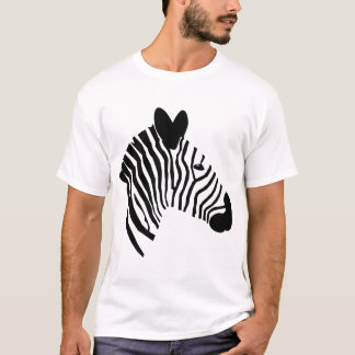 Zebra head illustration black white mens t-shirt