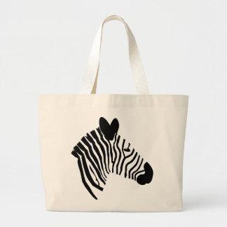 Zebra head illustration black white tote bag