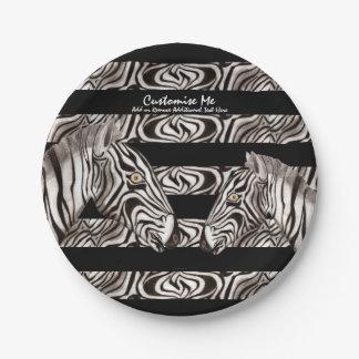 Zebra Head Paper Plate