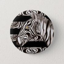 Zebra Head Pinback Button