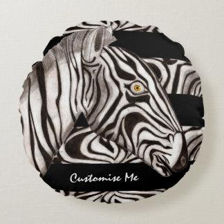 Zebra Head Round Pillow