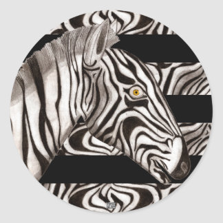 Zebra Head Classic Round Sticker