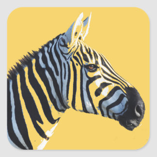 Zebra Head Sticker on Yellow Background
