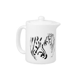 Zebra Heads Wildlife Art Teapot