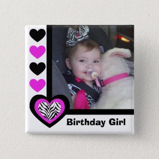 Zebra Heart: Birthday Girl: Picture Button