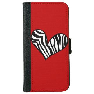 Zebra Heart Flap Wallet Phone Case iPhone 6 Wallet Case