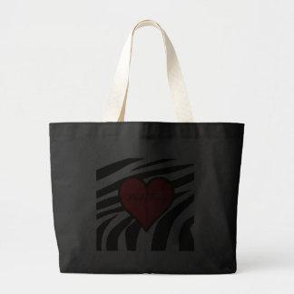 Zebra Heart Grocery Tote Bag