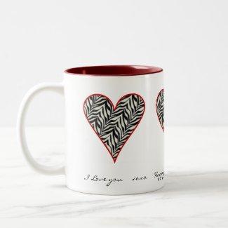 Zebra Heart: Happy Valentines Day Mug mug